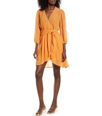 women's moon river scatter dot belted dress, size x-small - yellow
