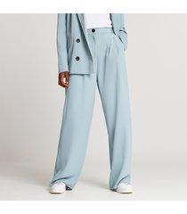 river island womens blue wide leg pleated pants