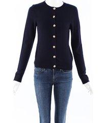 barrie cashmere knit cardigan blue sz: s
