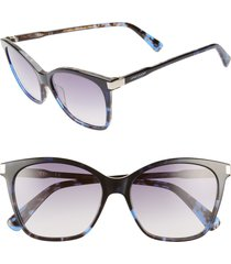 longchamp le pliage 54mm butterfly sunglasses in marble blue at nordstrom