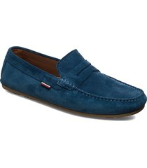 classic suede penny loafer shoes business loafers blå tommy hilfiger