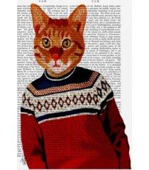 "fab funky cat in ski sweater canvas art - 15.5"" x 21"""