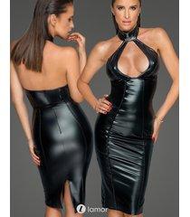 * noir handmade zwarte wetlook jurk met ruim decolleté
