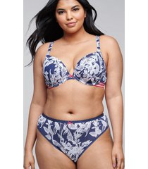 lane bryant women's cotton thong panty 22/24 navy palms