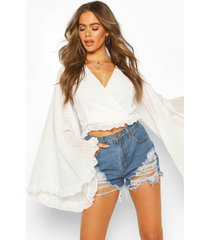 dobby chiffon flared sleeve top, ivory