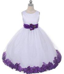 white dress purple sash and flower petals bridesmaid pageant flower girl dress