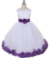 white dress purple sash and flower petals bridesmaid pageant flower girl dress