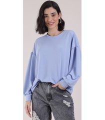 blusão de moletom feminino manga bufante azul claro