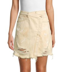 free people women's faux-wrap distressed denim skirt - butter cream - size 26 (2-4)