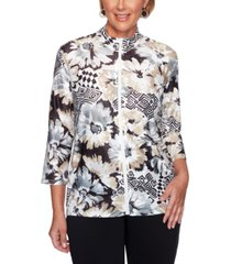 alfred dunner petite classics printed jacket