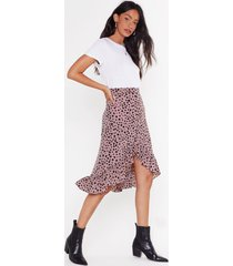 womens high-waisted polka dot print midi skirt - beige