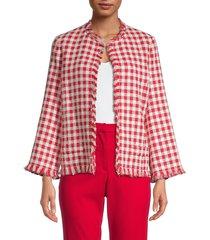 oscar de la renta women's checked open-front jacket - red multi - size 6