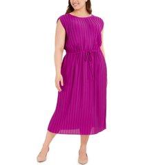 alfani plus size pleated tie-waist midi dress, created for macy's