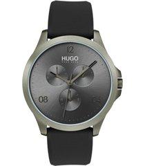 hugo men's #risk gray rubber strap watch 41mm