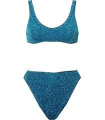 two-piece lumière 90's bikini, ocean blue