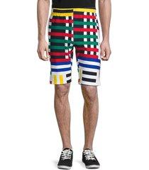 champion men's striped cotton bermuda shorts - chalk white - size l