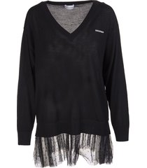 red valentino black wool v-neck sweater with point desprit tulle insert