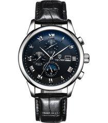 reloj mecánico reloj automático de seis puntas reloj-negro