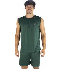 pijama mvb modas  curto adulto camiseta verde - verde - masculino - poliã©ster - dafiti
