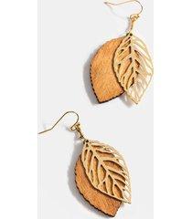 briley leaf earrings - brown