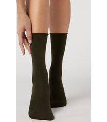 calzedonia women's smooth cotton mid-calf socks woman green size tu