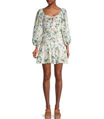 avantlook women's puff-sleeve floral-print mini dress - white multi - size s
