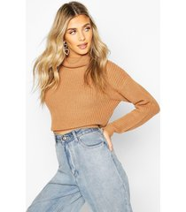 cropped fisherman roll neck sweater, toffee
