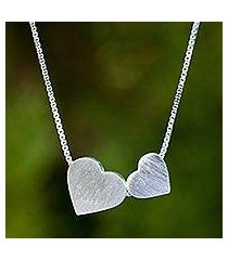 sterling silver heart necklace, 'a couple's heart' (thailand)