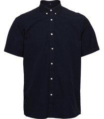 lyon seersucker ss shirt overhemd met korte mouwen blauw les deux
