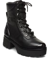 khloe lace up bootie shoes boots ankle boots ankle boots with heel svart michael kors shoes