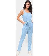 macacão jeans influencer longo amarração - feminino