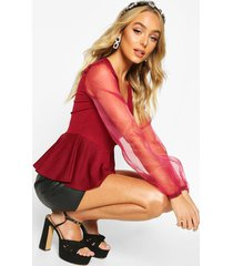 organza sleeve crepe wrap top, wine
