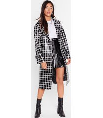 womens belted trench coat in vinyl with check print - black