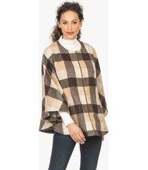 lilla p plaid outerwear zip front cape