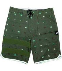 bermuda hurley phanton sea worth verde + camisa masculina