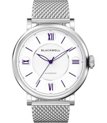 blackwell white dial with silver tone steel and silver tone steel mesh watch 44 mm