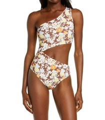 women's tory burch floral cutout one-piece swimsuit, size x-large - brown