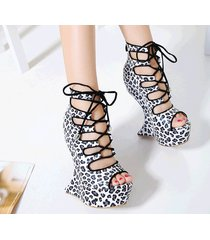 ps329 cutie lace up alien wedge sandals, leopard skin grain, us size 4-9, white