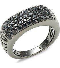 effy women's sterling silver & black sapphire ring/size 10 - size 10