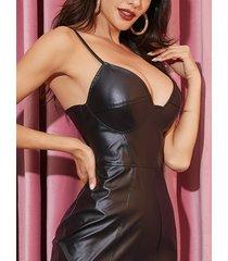correas de hombro ajustables negras con cuello en v de piel sintética vestido