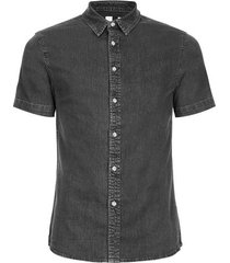 mens grey gray muscle fit short sleeve denim shirt