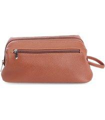 royce new york men's leather toiletry bag - tan
