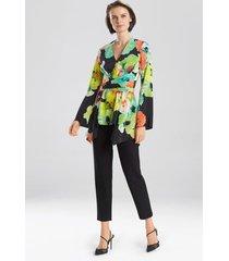 ophelia printed cdc tie front top, women's, silk, size 8, josie natori