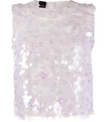 pinko paillette-embellished tank top - white