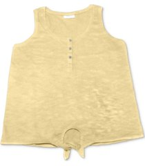 style & co henley tie-front tank top, created for macy's
