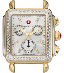 women's michele deco diamond diamond dial two-tone watch case, 33mm x 35mm