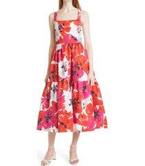 women's tanya taylor gia floral print cotton & silk midi dress, size 6 - red