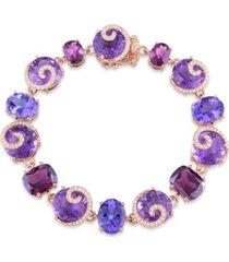 multi-gemstone (41 5/8 ct. t.w.) and diamond (3/4 ct. t.w.) link scroll bracelet in 14k rose gold