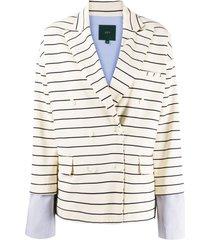 jejia contrasting cuff striped blazer - white