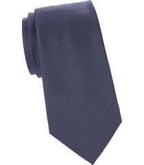 armani collezioni men's printed silk tie - solid blue